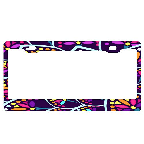 ASUIframeNJK Madeleine Pattern/Scale 1 Car Decor Metal License Tag Plate Cover - 12
