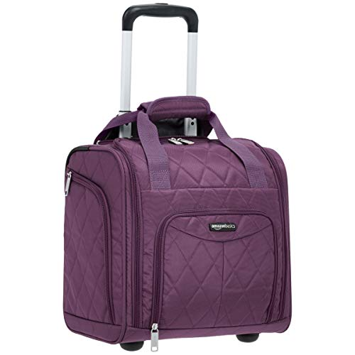 AmazonBasics Underseat Carry On Rolling Travel Luggage Bag - Purple Quilted