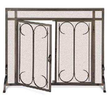 Pilgrim Iron Fireplace (Iron Gate Screen with Doors-Burnished Black)