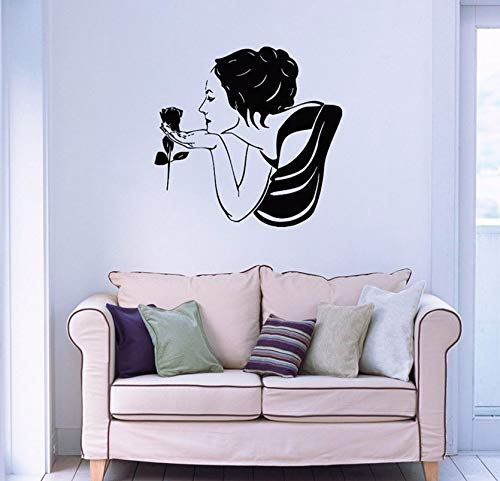 Dalxsh Beautiful Woman with Rose Wall Decals Flower