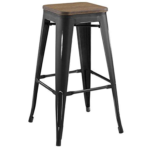 - Modway EEI-2819-BLK Promenade Modern Aluminum Backless Bistro Seat, Bamboo Bar Stool, Black