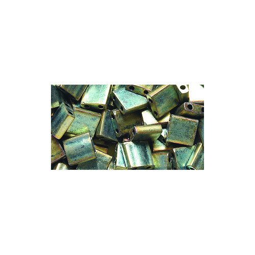 Shipwreck Beads Miyuki Tila Square Two Hole Bead, 5mm, Green Iris (Green Iris Matte)