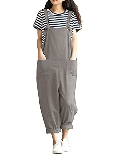 Women Large Plus Size Baggy Overalls Casual Wide Leg Pants Sleeveless Rompers Jumpsuit Vintage Haren Overalls Grey Tag 3XL