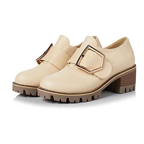 ZHZNVX Zapatos de Mujer de Goma/Cuero sintético Primavera/Verano Comfort Sneakers Chunky Heel Cerrado de Punta Negra/Beige / Rosa Beige