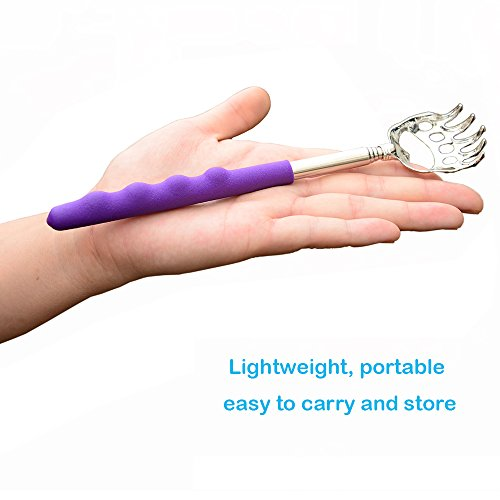 Telescopic Back Scratcher by Lethum, Bear Claw Telescoping Scalp Massager Tool with Soft Rubber...