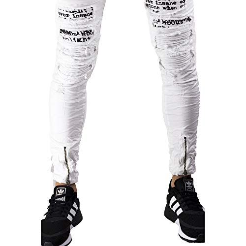 Slim Jeans Caviglie Strappati Toppe Zip Elasticizzati Uomo Alle Slimfit Pantaloni Bianco Bianchi HE5SqPCw