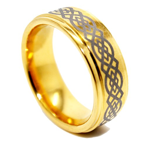 8mm Golden Colored Tungsten Wedding Ring with Celtic Knot Design Size (8)