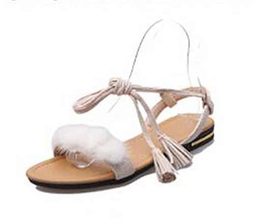 fur white Nerefy Sandals Real Shoes Ladies Gladiator Sandals Strap Wedding Women Fur Ankle real Summer Flats Beach ZarZO