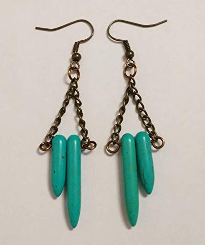 - Aqua Magnesite Spike And Bronze Tone Chain Earrings