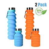 ZOORON Collapsible Water Bottle, BPA Free Silicone Foldable Travel Water Bottle Set Lightweight/Eco-Friendly Water Bottles with Carabiner Designed for Travel and Outdoor (B-Blue+Orange 2Pack)