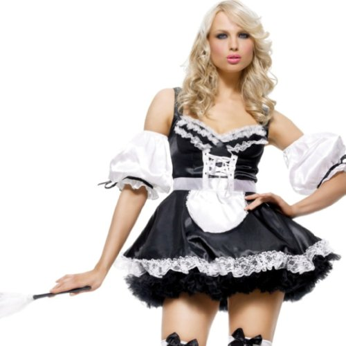 Leg Avenue Women's Sexy French Maid Dress, Black/White, Medium