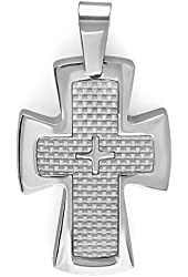 Stainless Steel White Carbon Fiber Inlay Mens Religious Cross Pendant (1.25 inch x 1.75 inch)