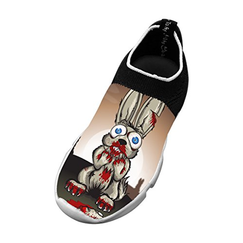 Ware Rabbit 3D Printing Children's Slip-on Flyknit Outdoor Sport Shoes