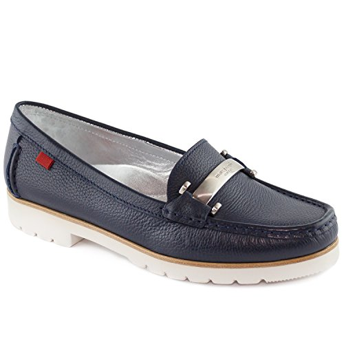 Women's Genuine Leather Made in Brazil Tribeca Bit Buckle Loafer Marc Joseph NY Fashion Shoes Navy Grainy cheap very cheap Xr0RFWQ42
