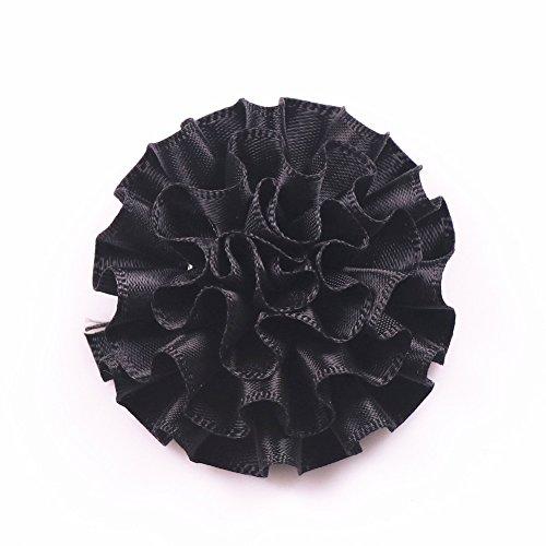 - YAKA 26Pcs 2.1inch Polyester Ribbon Handmade Cabbage Flowers Wedding Decoration Appliques DIY Project Craft (Black)