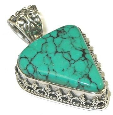 Freeform Turquoise & Sterling Silver Pendant (Turquoise Freeform Bead Pendant)