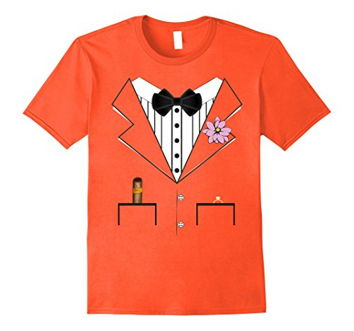 Mens Groom Tuxedo Wedding Halloween Costume T-shirt 3XL Orange
