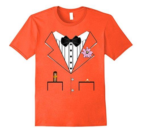 Mens Orange Tuxedo Costumes Tshirt (Mens Groom Tuxedo Wedding Halloween Costume T-shirt XL Orange)