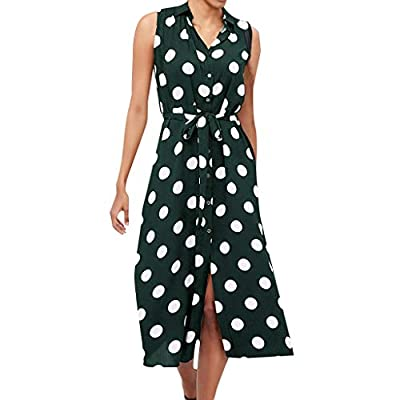 PASATO Women Off-Shoulder Boho Dress Polka Dot Prints V Neck Waist Lace Up Sleeveless Loose Strap Long Maxi Dress