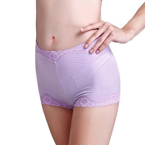 ZHUDJ Frauen Unterwäsche Spitze Baumwolle Farbe Gebürstet Flachbild Hosen, Hohe Taille Hose Big Code Sicherheit Und ? purple