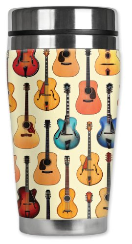 (Mugzie brand 16-Ounce Travel Mug with Insulated Wetsuit Cover - Acoustic Guitars)