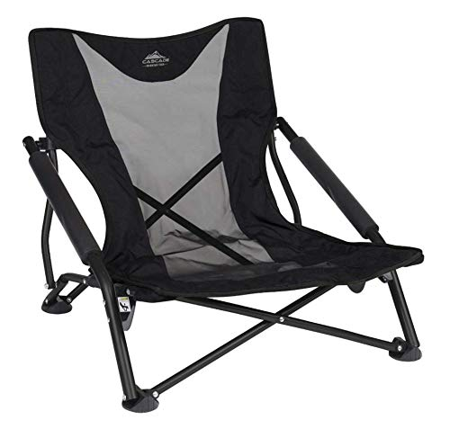 Cascade Mountain Tech Compact Low Profile Outdoor Folding Camp Chair with Carry Case - Black