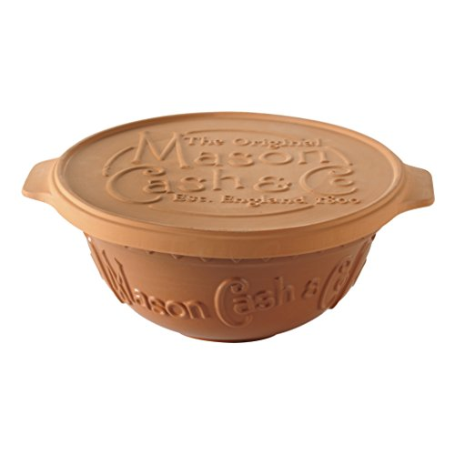 Mason Cash Terracotta Bread Baking Set, Includes a Mixing Bowl (11.5-Inch Diameter x 5.5-Inch Height) with Proving Lid/Baking Stone