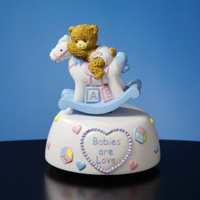 Baby Rocking Horse Musical Figurine by The San Francisco Music Box Company (Box Horse Rocking Music)