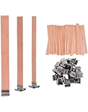YoungRich 100 PCS Wood Candle Wicks with Iron Stand Candle Cores Natural Environmental-Friendly Wick for Candle Making and Candle DIY Craft 13x1.3cm / 5.1x0.5inch