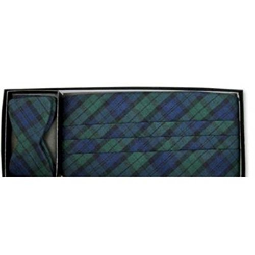 Black Watch Christmas Plaid Cummerbund and Self Tie Bow Tie ()