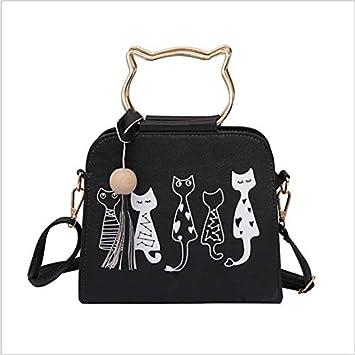 OneMoreT - Bolso bandolera para mujer, diseño de gato, negro: Amazon.es: Instrumentos musicales
