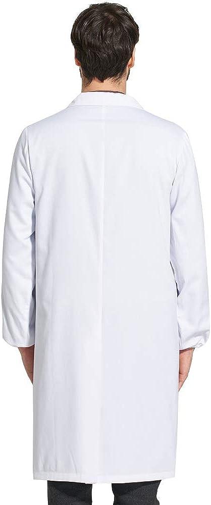 Adatto per Studente Laboratorio Infermiera Cosplay Abito di Coton Camicia Bianca delluomo Camice per Le Unisex Medico Cappotto Icertag Camice Bianco da Laboratorio Donna Uomo