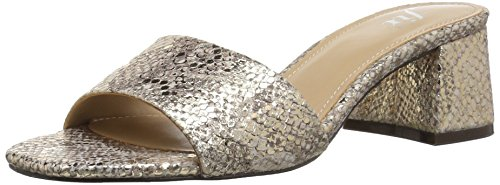 (The Fix Women's Lilly Block Heel Mule, Gold/Metallic Snake Embossed Leather, 8.5 B US)