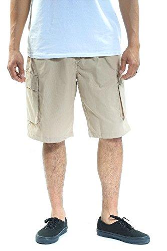 - YAGO Men's Elastic Waist with Drawstring Plain Cargo Shorts (Khaki, X-Large)