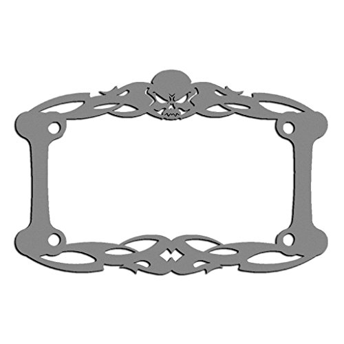 Ferreus Industries Gray Powdercoat Motorcycle License Plate Frame Tattoo Skull Skeleton Skull - 1 Piece LIC-112-Gray ()