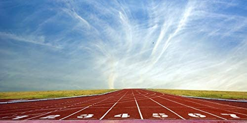10x5ft Red Running Track Backdrop Striped Line Grass Playground Blue Sky Polyester Photography Background Athlete Relay Sport Race Champion Adult Banner Photo Prop Studio Video Back Drops