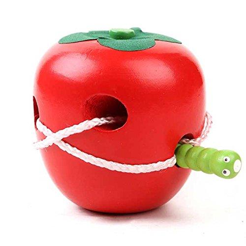 GYPO Jeu de laçage de l'intelligence de Fruit de Forme Montessori Puzzle Jouet en Bois d'enfant Filetage