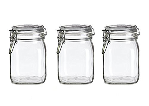Bale Glass Jars - Food Grade and Smell Proof Top Quality BPA Free Bale Glass Containers, 3 Airtight Heavy Glass Jars 39oz Capacity Each Designed to Keep Your Herbs and Food Fresh for a Long Time.
