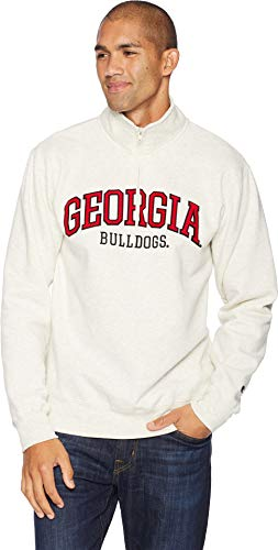 Champion College Men's Georgia Bulldogs Powerblend¿ 1/4 Zip Champion Oatmeal Heather Large ()
