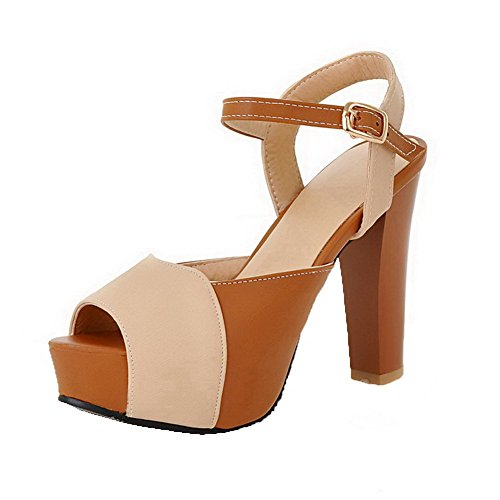 AalarDom Womens Buckle Open-Toe High-Heels PU Assorted Color Sandals Beige I186p1xjX