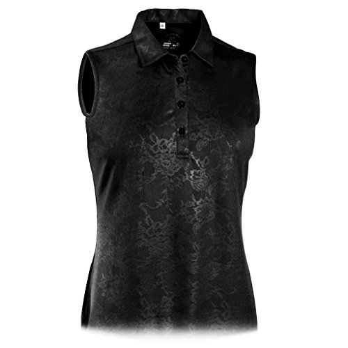 Monterey Club Ladies Dry Swing Lace Emboss Solid Sleeveless Shirt #2437 (Black, ()
