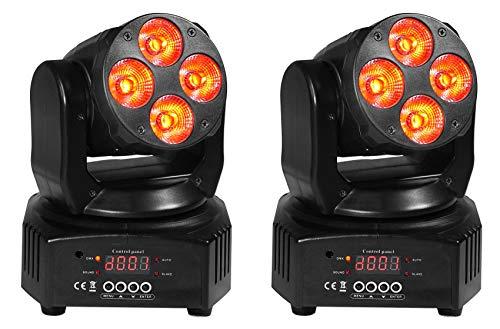 2 Rockville RockOn-7 40w RGBW Moving Head DMX Spot Beam Stage Club ()