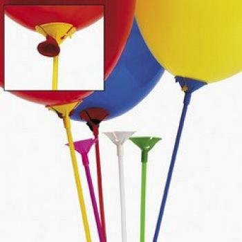 MULTICOLOR BALLOON STICKS WITH CUP (12 DOZEN) - BULK by Fun -