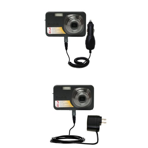 Gomadic Car and Wall Charger Essential Kit for the Kodak V1073 - Includes both AC Wall and DC Car Charging Options with TipExchange by Gomadic