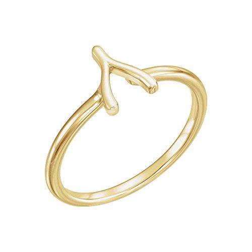Rings Gold Wishbone (Bonyak Jewelry 14k Yellow Gold Wishbone Ring - Size 7)