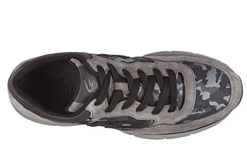 Hogan Chaussures Baskets Sneakers Homme en Daim Traditional 2015 h 3D Gris