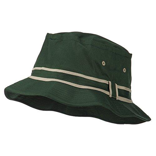 Striped Hat Band Fisherman Bucket Hat - Green Khaki L-XL Fisherman Bucket Hat