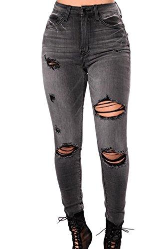 Elastico Black Donne Vita Angosciato Jeans Alto Alla Attillati Classico Monocolor rII7xvHz