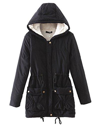 Chartou Women's Lovely Thicken Zip-Fly Hooded Lambswool Fleece Lined Long Jacket Coat Outwear (Small, Black)