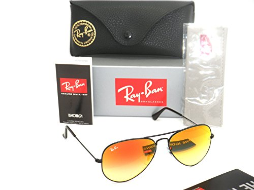 New Authentic Ray-Ban Aviator RB 3025 002/4W 55mm Black / Red Gradient Mirror Small